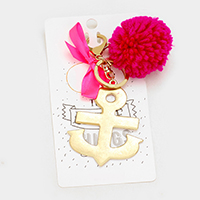 Hammered Anchor Metal & Yarn Pom Pom with Ribbon Keychain