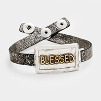 BLESSED _  Hammered Metal Rectangle Snap Button Bracelet