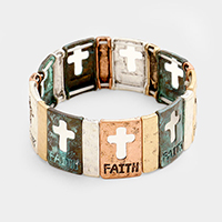 Faith & Cross Hammered Metal Stretch Bracelet