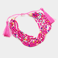 Multi Colored Seed Bead with Double Tassel Bracelet