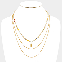3 Layered Multi Chain with Leaf Necklace