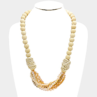 Wood Bead & Faceted Bead Crescent Bib Necklace