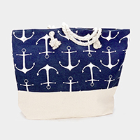 Printed Anchor Pattern Canvas Tote Bag