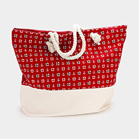 Printed Anchor Pattern Canvas Beach Tote Bag