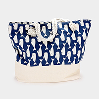 Printed Whale Pattern Canvas Beach Tote Bag