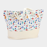 Printed Travel Pattern Canvas Beach Tote Bag