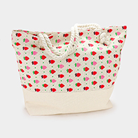 Printed Strawberry Pattern Canvas Beach Tote Bag