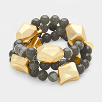 3 Layered Brass & Semi Precious Bead Stretch Bracelet