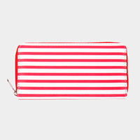 Faux Leather Stripe Wallet