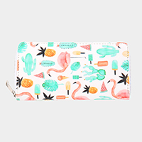 Faux Leather Cactus, Flamingo & Food Wallet