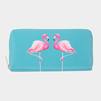 Faux Leather Flamingo Wallet