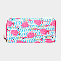 Faux Leather Flamingo & Pineapple Wallet