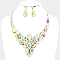 Glass Crystal Marquise Cluster Vine Evening Necklace