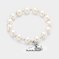 Pearl with Kentucky State Map Charm Stretch Bracelet