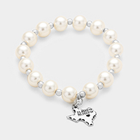 Pearl with Texas State Map Charm Stretch Bracelet