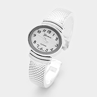 Textured Oval Face Cuff Dial Watch