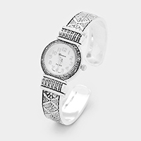 Embossed Round Face Cuff Dial Watch