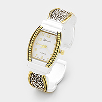 Embossed Square Face Cuff Dial Watch