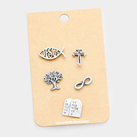 5 PCS -Hammered Religious Theme Brooch