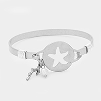 Hammered Cut Out Starfish with Coral & Pearl Bracelet
