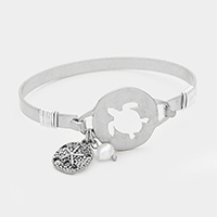 Hammered Cut Out Turtle with Pearl Charm Bracelet