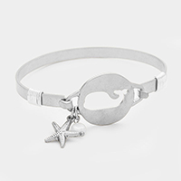 Hammered Cut Out Whale with Starfish & Pearl Bracelet
