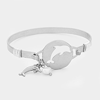 Hammered Cut Out Dolphin with Pearl Bracelet