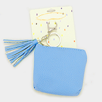 Faux Leather with Tassel Bag Keychain