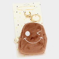 Wink Face Faux Fur Backpack Keychain