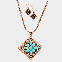 Turquoise Stone Accented Western Tribal Necklace