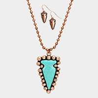 Turquoise Stone Accented Arrow Sparrow Western Necklace