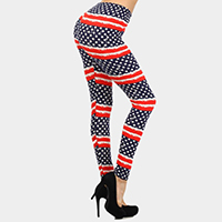 Casual Comfy Star Stripe American Flag Leggings