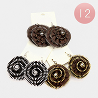 12 Pairs - Round Fabric Studded Earrings