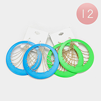 12 Pairs - Oversized Round Hoop Fish Hook Earrings