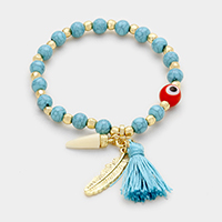 Beaded Evil eye with Tassel & Charm Stretch Bracelet