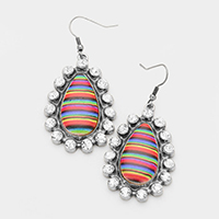 Multicolored Serape Rhinestone Oval Earrings