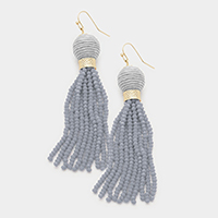 Thread Ball with Faceted Bead Tassel Earrings