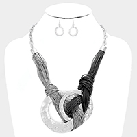 Multi Layer Twisted Cord Double Round Metal Necklace