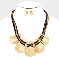 Metal linked Cord Bib Necklace