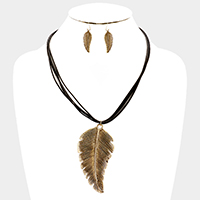 Faux Leather Cord Textured Leaf Necklace