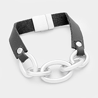 Faux Leather Metal Chain Link Magnetic Bracelet
