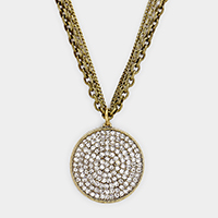 3 Layered Chain Pave Rhinestone Round Pendant Necklace
