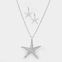 Bling Starfish Pendant Necklace
