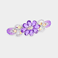 Crystal Flower Pave Barrette