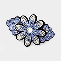 Felt Back Pave Rhinestone Flower hair barrette