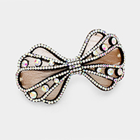 Felt Back Pave Rhinestone Bow Hair Barrette