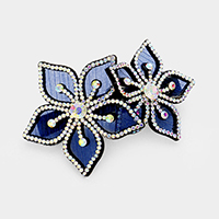 Felt Back Pave Rhinestone Double Flower Hair Barrette