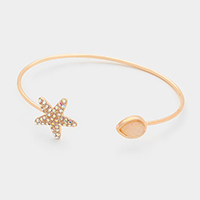 Starfish with Teardrop shaped Mother of Pearl Cuff Bracelet