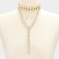 Pave Drop Crystal Stone Y-Collar Choker Necklace