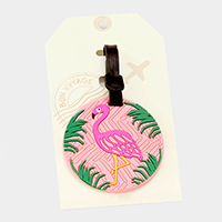 Flamingo _ Bon Voyage Rubber Luggage Tag